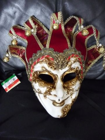 Genuine Venetian Fabulous Red & Gold Jester Mask with Bells